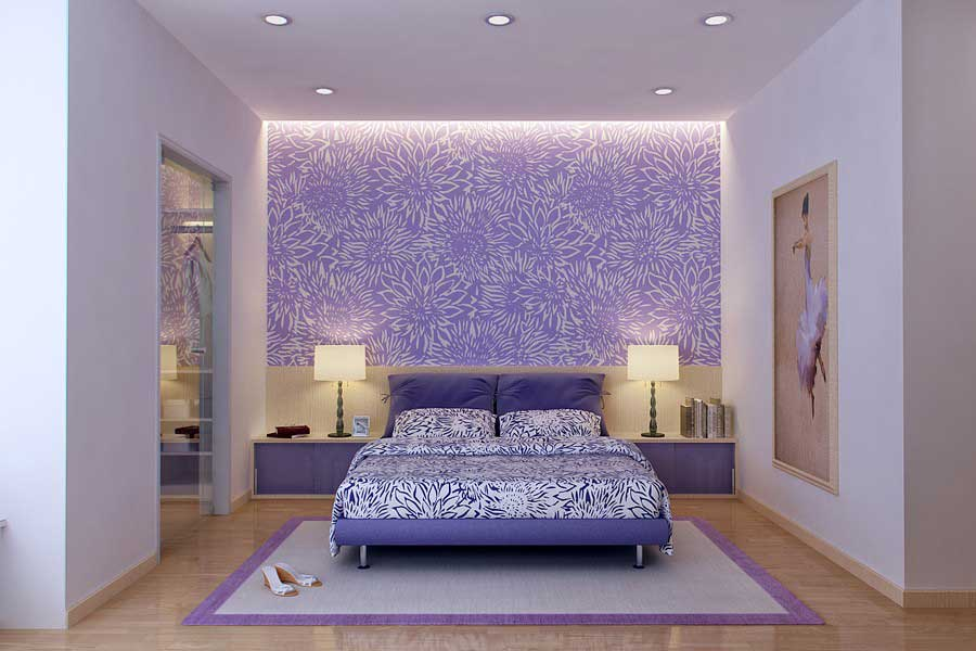 beautiful purple and white bedroom design interior