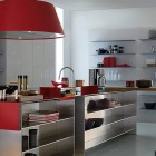 Beautiful Stainless Steel Kitchen Design with Red Accents