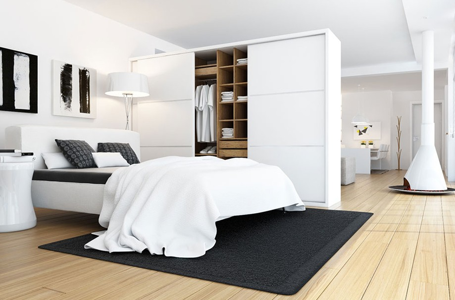 lovely black white modern bedroom | Beautiful White Bedroom with Wardrobe - Interior Design Ideas