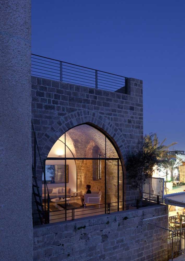 Block Wall Exterior View at Night