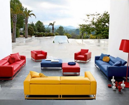 Blue Red and Yellow Living Room Sofa Sets Ideas