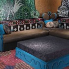 Blue and Brown Living Room Furniture with Mosaic Wall Design
