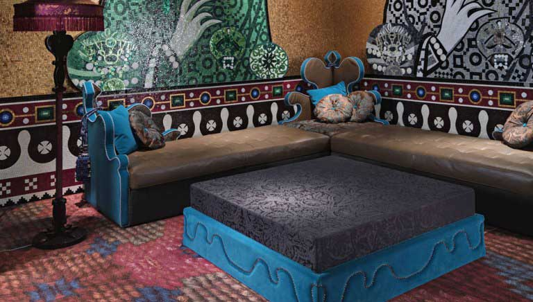 Blue and brown living room furniture with mosaic wall - Blue and brown living room furniture ...