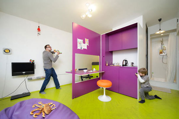 Playful interior designs for small apartment interior for Purple and green living room ideas