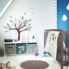 Cool Baby Room with Tree of Wall Decor and Sloped Ceiling Ideas
