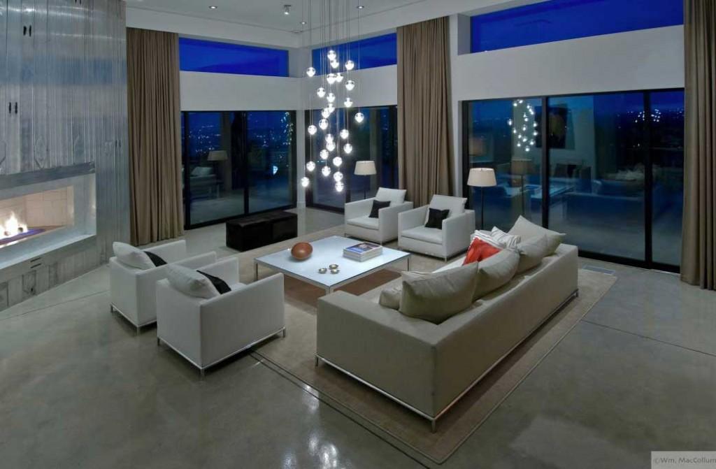 Cool White Living Room Lighting 2012