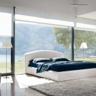 Cozy White Bedroom with Glass Wall Inspiration