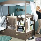 Dark Grey and Blue Babby Nursery Crib Furniture Inspirations