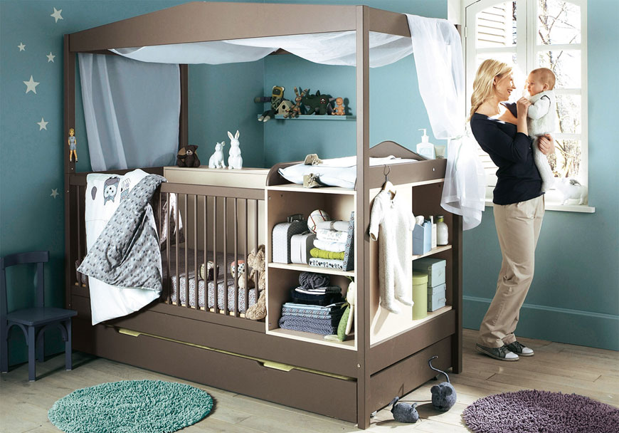 Dark Grey and Blue Babby Nursery Crib Furniture Inspirations
