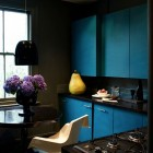 Dark Kitchen Apartment with Blue Furniture Sets