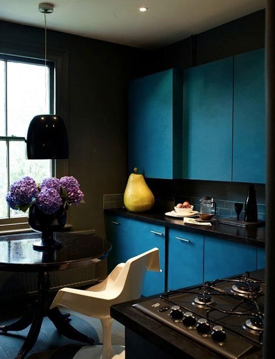 Dark Kitchen Apartment with Blue Furniture Sets