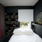 Dark and Moody Bedroom Apartment with White Bed