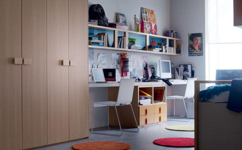 Double study desk and computer design for kids interior for Best study desk design
