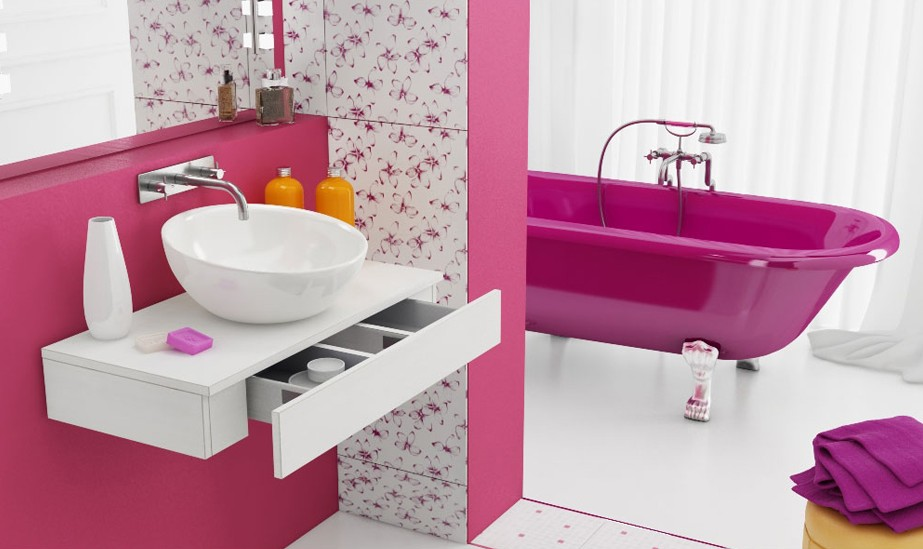 Fancy pink and white bathroom interior design ideas for White and pink bathroom ideas