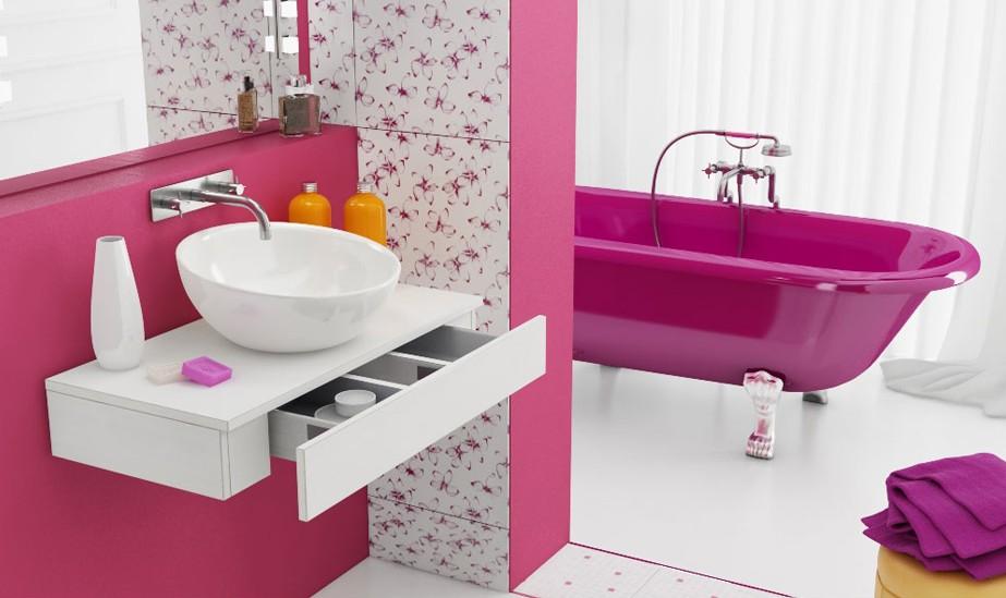 Fancy pink and white bathroom interior design ideas for White and pink bathroom ideas
