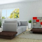 Grey Living Room and Brown Tables Design