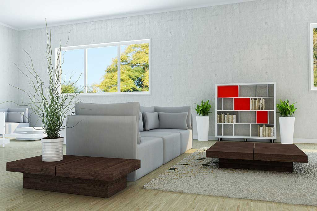 Grey living room and brown tables design interior design for Grey and brown living room ideas