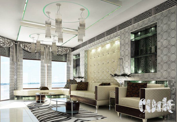 Interior Rendering Bige Couches with Graphic Decor