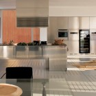 Large Kitchens with Stainless Steel Furniture Set