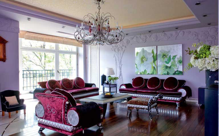 Lilac and Plum Violet Living Room with Luxury Sofas and Chandelier