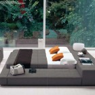 Luxury Gray and White Japanese Bedroom Style with Orange Pillow