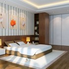 Luxury White and Brown Bedroom with Ballerinas on Walls Decoration