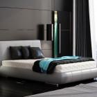 Minimalist Black Bedroom Turquoise Accents