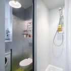 Modern Bathroom Apartmen in Small Space with Green Floor