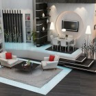 Modern Living Room with White Sofa and Red Pillow