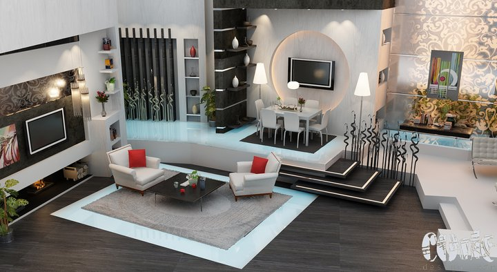 Modern Living Room with White Sofa and Red Pillow ...