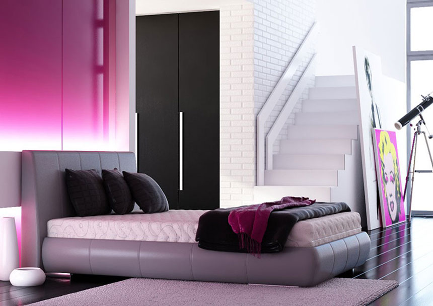 Modern Pink and Black Bedroom - Interior Design Ideas