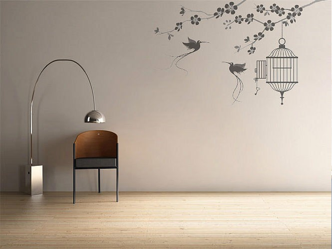 Modern Wall Stickers Birds and Cage Design