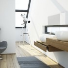 Modern White Bathroom with Lookout