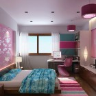 Pink Floral Wall Girl Bedroom Design with Rug Striped