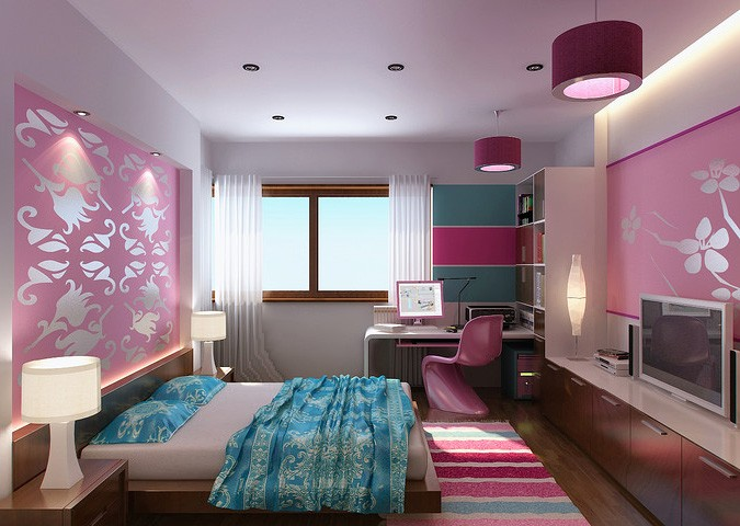 Pink floral wall girl bedroom design with rug striped interior design ideas - Best bedroom interior design for girls ...