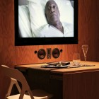 Pull Out Wooden Table with LCD TV Decorations