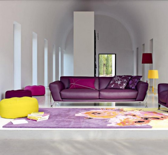 contemporary sofa on Modern Sofas Design Inspirations Images  Purple And Yellow Modern Sofa