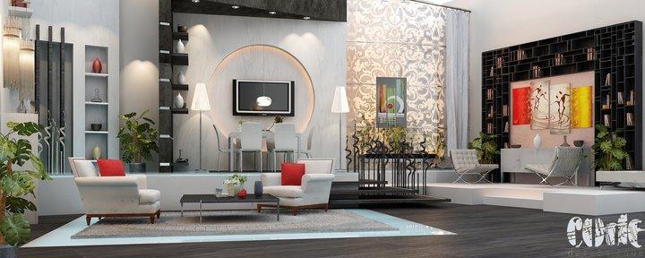 Rendering Design Grey and Black Living Room