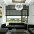 Rendering Interior Black and White Living Room with Round Chandelier