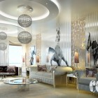 Rendering Interior with Gold and White Lace Walls