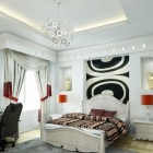 Rendering White Bedroom With Graphic Prints