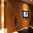 Small Space Entertainment Unit with Wooden Wall