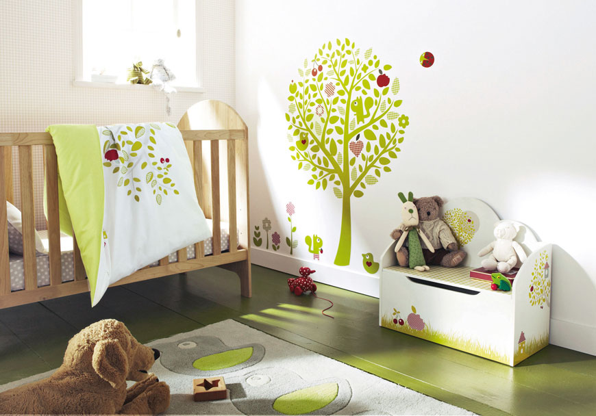 Tree wall decal for a nature themed baby nursery room Creative baby nursery ideas