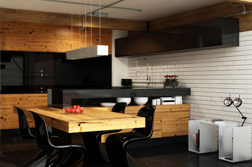 urban apartment kitchen with dining table interior