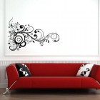 Wall Sticker Black on White Swirls in Blank Space