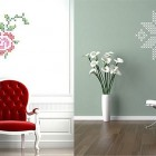 Wall Stickers Graphic Rose and Snowflake with Luxury Red Chair