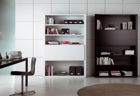 White Junior Bedroom Design with Brown Book Shelves