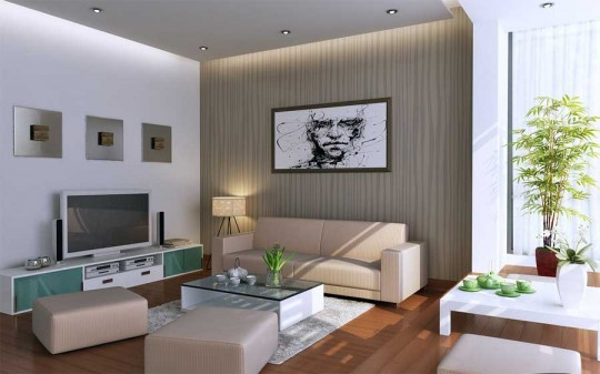 White and Beige and Sage Living Room with Glass Low Tables