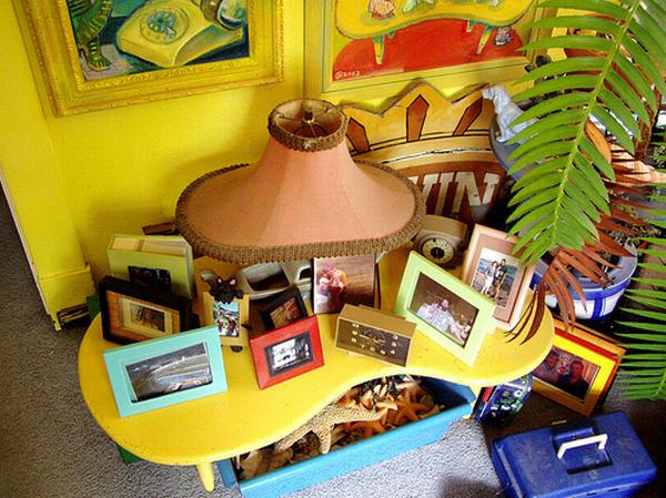 Yellow Table Furniture in Family Room