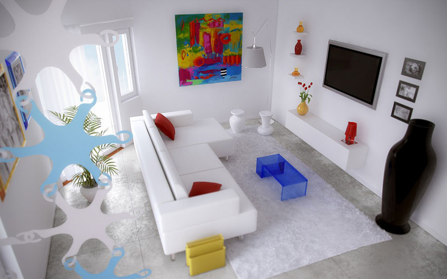 Amazind Modern Living Room with White Couch and LCD TV